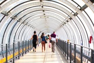 Hallways going into the Centre Pompidou.