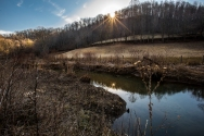 Sunlight over a pond off Odd-Willibet Road in Coal City, West Virginia on March 12, 2014